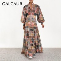 GALCAUR Vintage Print Women Dress Stand Lantern Sleeve High Waist Button Hit Color Maxi Dresses Female Fashion 2019 Sping New