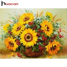 Huacan Diamond Painting Flowers Paintings Of Rhinestones Mosaic Sunflower Full Square Drill Embroidery