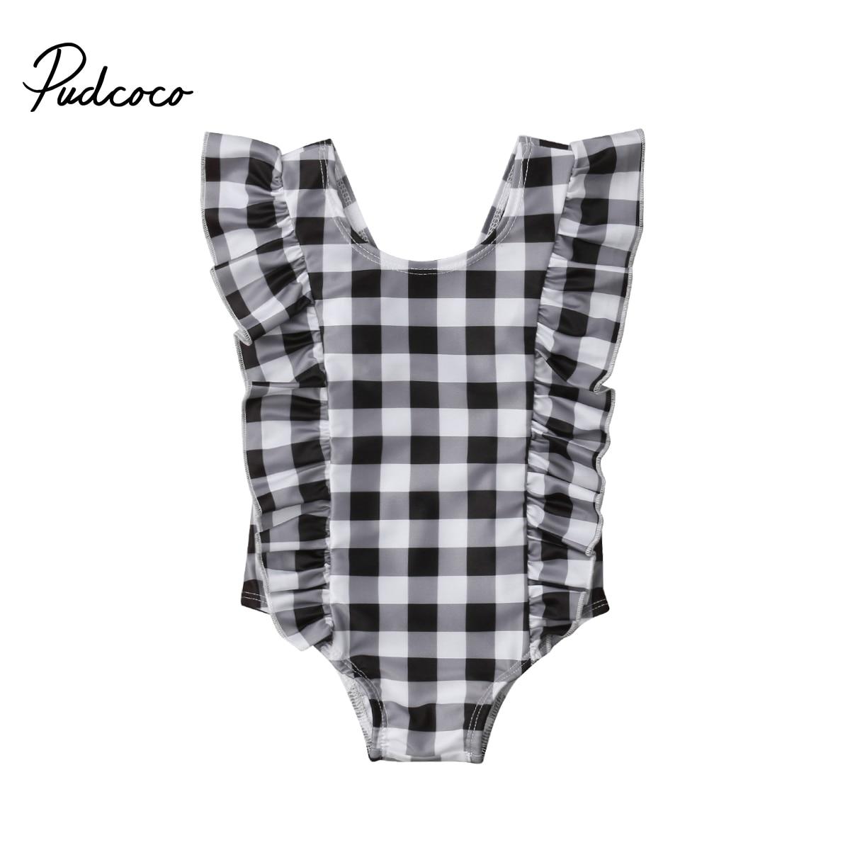 0-24M Kid Swimsuit Surf Suit Swimwear Infant Baby Girl Ruffle Plaid Romper Jumpsuit