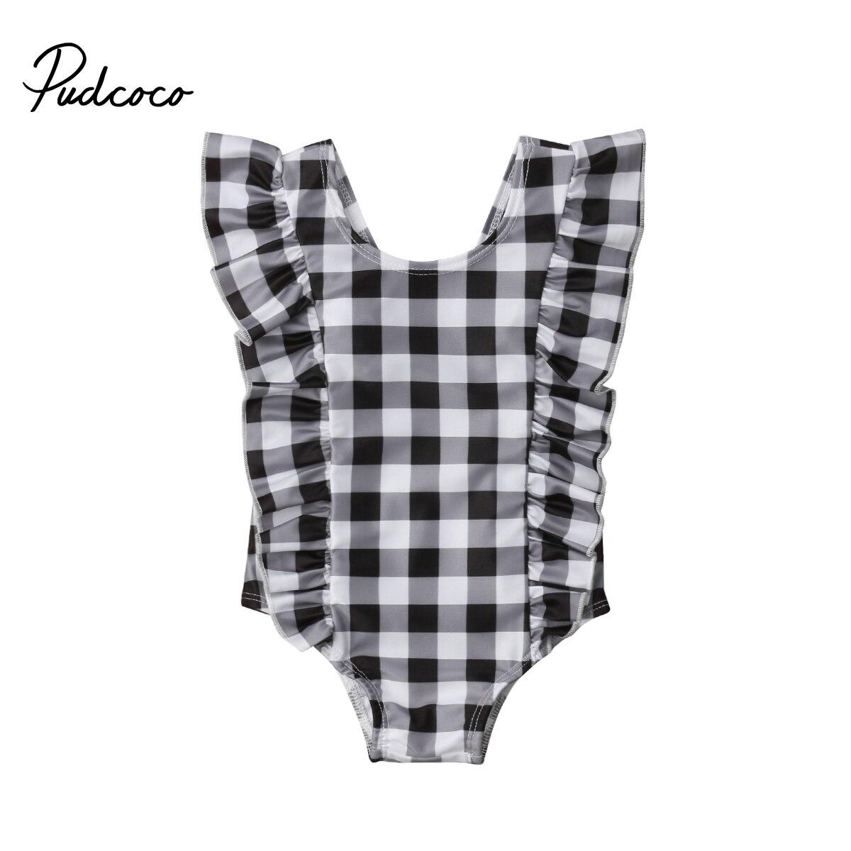0-24M Newborns Baby Girls Swimsuit Surf Suit Kids Swimwear Infant Baby Girl Ruffle Plaid Jumpsuit Summer Beach Bathing Suit