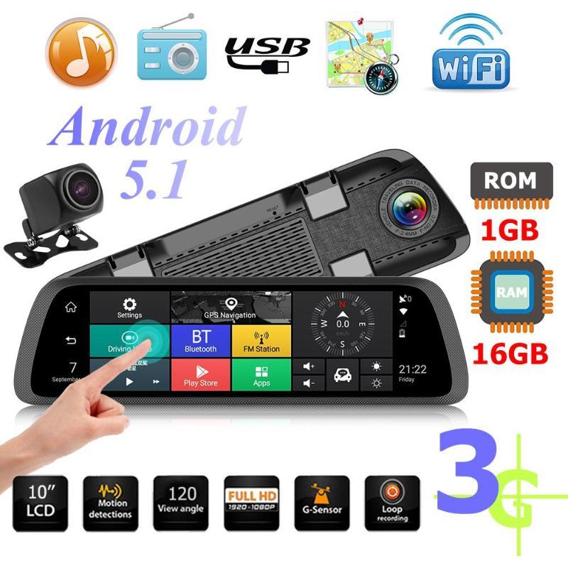 10 3G 4G Touch Screen DVR Car Camera Rearview Mirror FHD 1080p ADAS WiFi GPS Dash