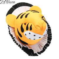 KiWarm Tiger 3D Felt Animal Head Figurines Statues Ornaments for Birthday Party Christmas Children Room Wall Hanging Decor Gift