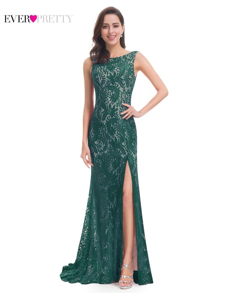 Long Emerald Green   Bridesmaid     Dresses   Ever Pretty Farsali Lace Vintage High Split Mermaid Elegant   Dresses   For Wedding Guests