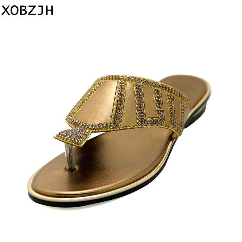 dd05b8684 Shoes Woman 2019 Summer Flat Sandals wedding Ladies Rhinestone Flip Flops  Slippers Women Shoes Lager Plus