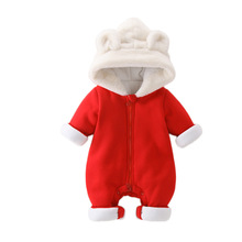 baby girls winter rompers toddler warm plus velvet thick long-sleeved hooded jumpsuit for girls baby winter clothing стоимость