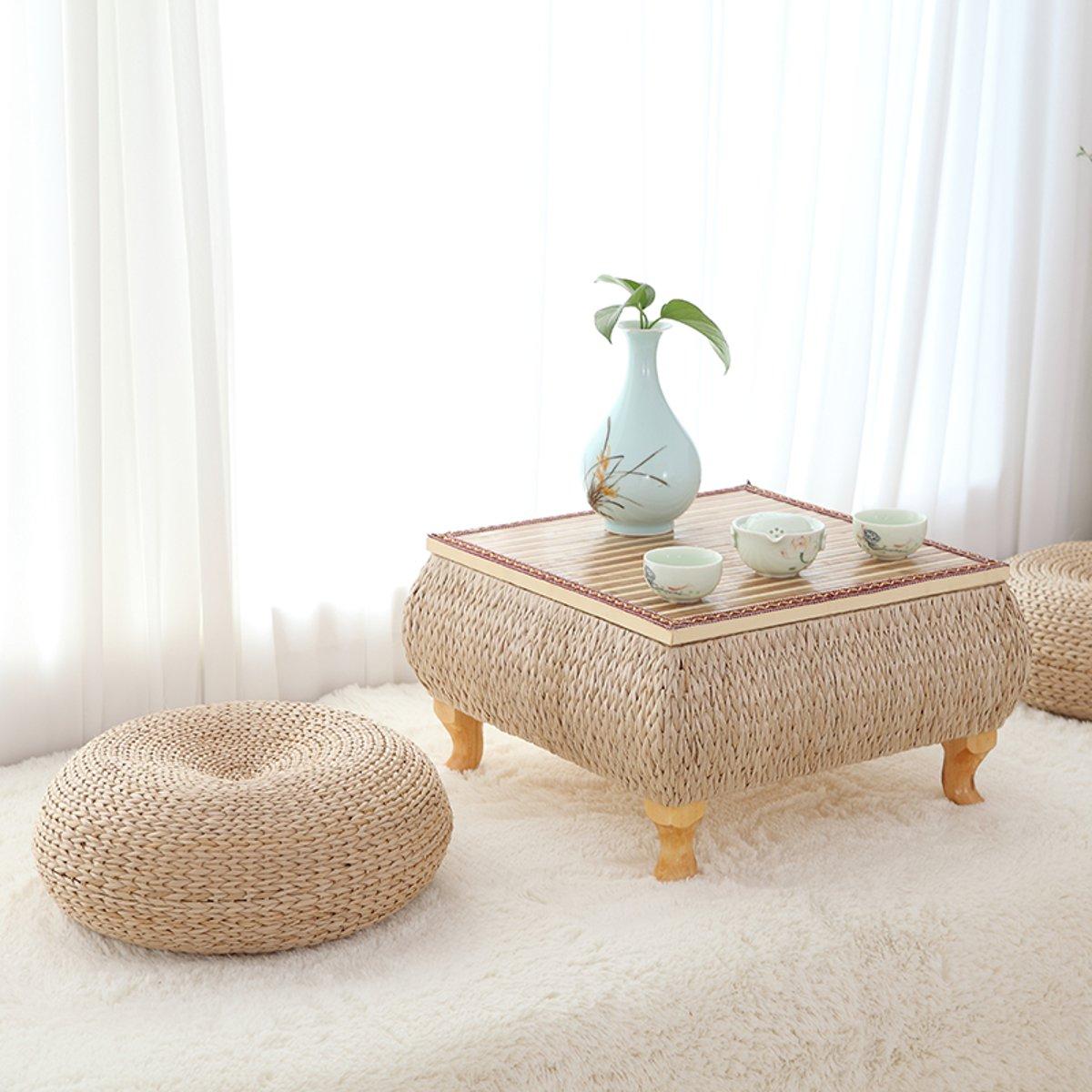 Tatami coussin Pad fait à la main en rotin oreiller plancher Yoga chaise siège tapis méditation coussin décoration de la maison 40 cm naturel paille armure