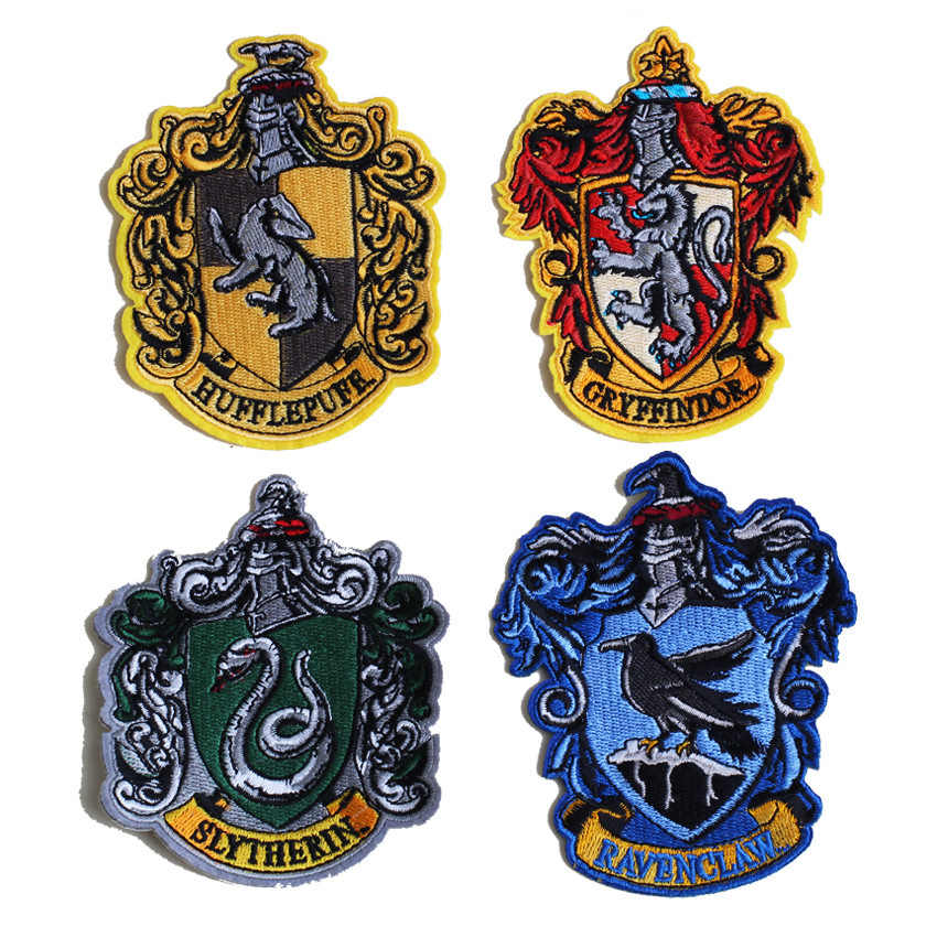 PGY Harry Potter Stickers Badge Embroideried Iron On Patches For Clothing Jeans Gryffindor Hogwarts Slytherin Patch Decor