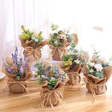 Burlap Potted Fake Flower Artificial Flowers Bonsai Set Vase Souvenir Wedding Bridal Decoration Ornaments