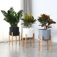 植物植木鉢ミッドセンチュリー 28 センチメートル屋内プランタースタンドアセンブリブナ木製ホルダー木製床鉢植え家の装飾のためオフィスの装飾