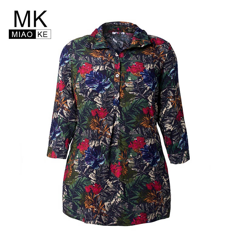 Miaoke 2019 Summer Ladies Plus Size Print Chiffon tops and blouses High Quality Clothing Fashion vintage large size Office shirt 1