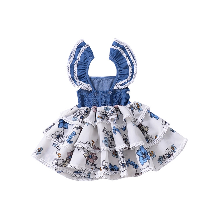 Girls Flower Printed Dress Ins Hot Baby Vest Floral Sleeveless LACE CAKE Dresses