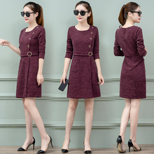 Dress in the female new winter spring fashion show thin long little sleeve knit dress