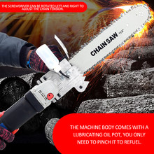 "Chainsaw DIY Electric Jig Circular Saw Converter woodworking 11.5"" Bracket Saw Changed Angle Grinder into Chain Saw with 10mm(China)"