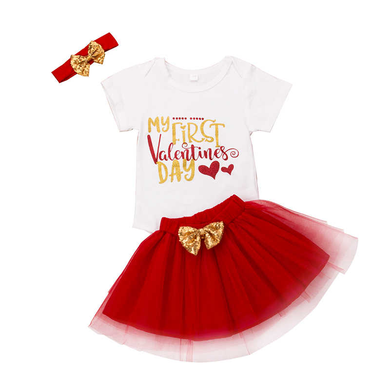 f320861abb6d Detail Feedback Questions about 3Pcs Newborn Baby Girl Outfit Valentine s  Day Sequins Letter Print Tops Romper Bowknot Tulle Skirt Baby Girl Set  Clothes on ...