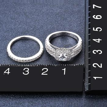 Simulated Diamond Wedding Ring Sets 2-in-1 Solid 925 Sterling Silver Round CZ Engagement Rings For Women Bridal Proposal Gift 2