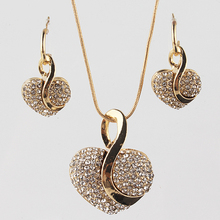 2015 New Arrival 18k Yellow Gold Plated Heart Clear Austrian Crystal Earing and Necklace Sets Chain Jewelry Set For Women недорого