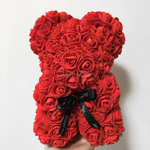 2020 Valentines day 24 Colors 25cm tall PE Rose Bear Wedding Gift Girlfriend Gift Anniversary Gift (free Customize Ribbon Tie)(China)