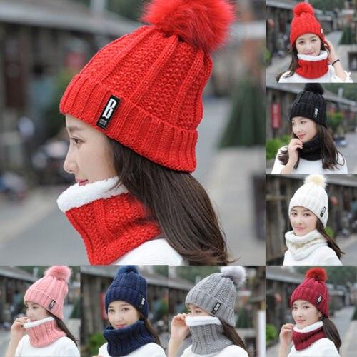 2Pcs Women Winter Scarf Hats Set Ladies Girl Knitted Warm Soft Cotton Bib Scarves Poncho Beanies Caps Neck Warmer Ring Pashmina
