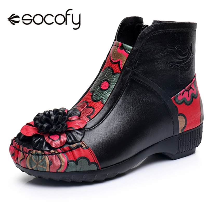 Socofy Retro Winter Boots Women Flower Genuine Leather Fur-lined Ankle Boots Women Shoes Woman Zipper Plush Snow Shoes BootiesSocofy Retro Winter Boots Women Flower Genuine Leather Fur-lined Ankle Boots Women Shoes Woman Zipper Plush Snow Shoes Booties