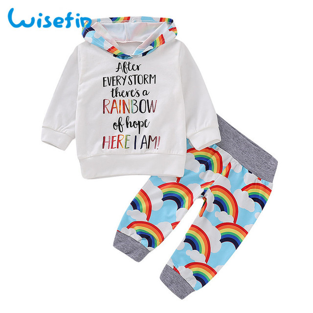 74b4e27f9602 Wisefin Unisex Newborn Boy Girl Clothing Set Long Sleeve Rainbow Baby Boy  Outfits Letter Infant Girl Clothes Set Hoodie + Pants