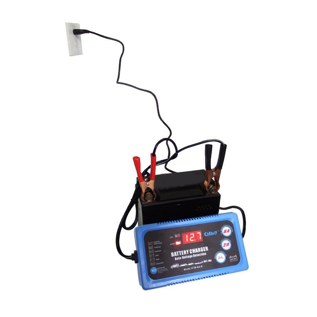 6V 12V Smart Car Motorcycle Battery Charger Full Automatic 2A 6A Lead Acid AGM GEL Dry Batteries Power Charging Tool 6 V 12 Volt