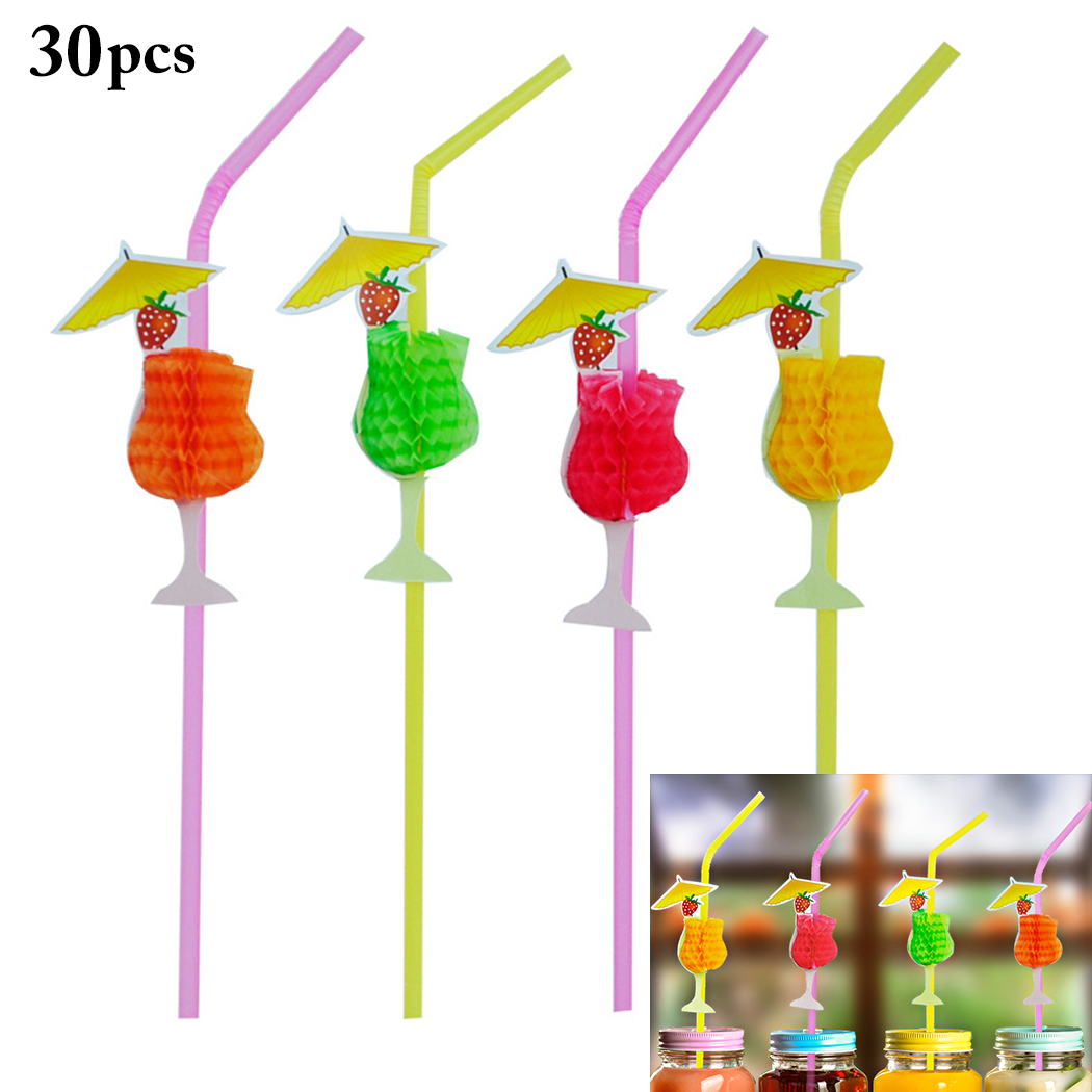 30Pcs Disposable Creative Plastic Straw Stereo 3D Honeycomb Straw Creative Art Goblet Shape Party Drink Decoration in Disposable Party Tableware from Home Garden