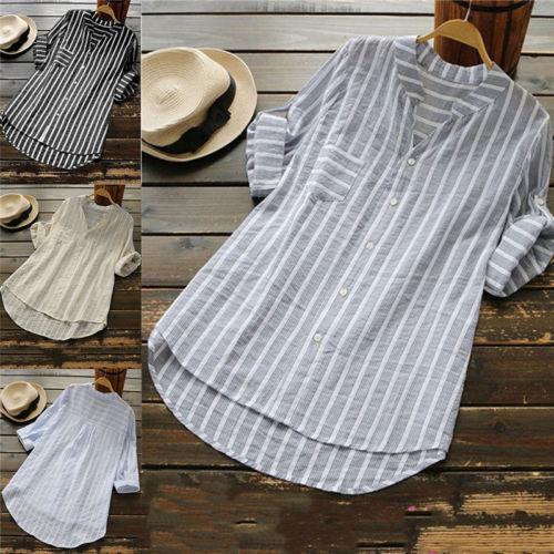 26915ce22 Barato Plus Size Mulheres Casual Soltos Camisas De Linho De Algodão Botão  de Camisa Listrada de