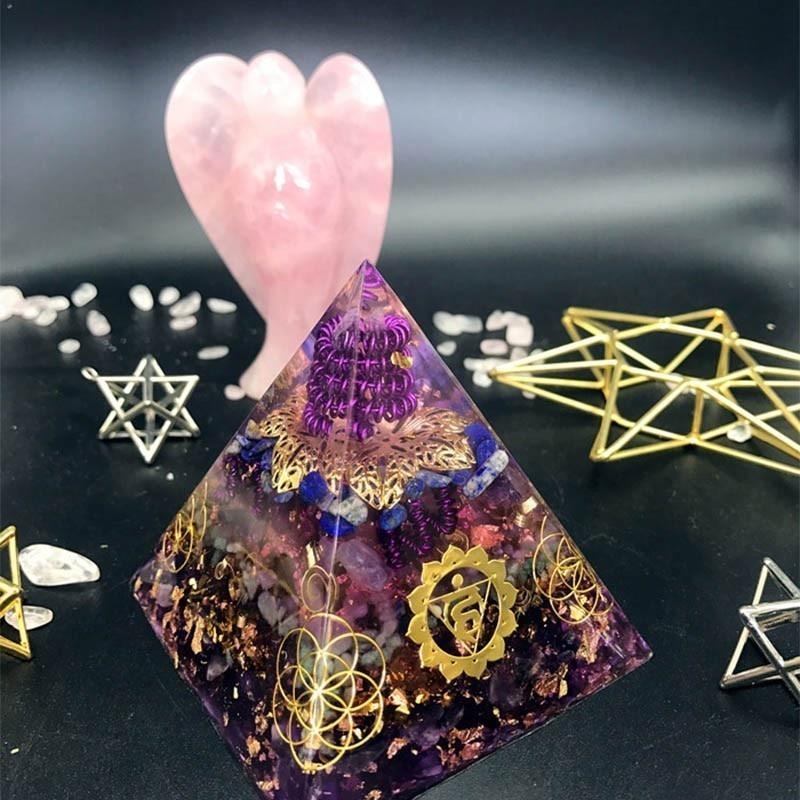 Aurareiki Orgonite Pyramid Vishuddha/Ajna Chakra Jeremiel Amazonite Amethyst Natural Crystal Improves Wisdom Bring Lucky Pyramid