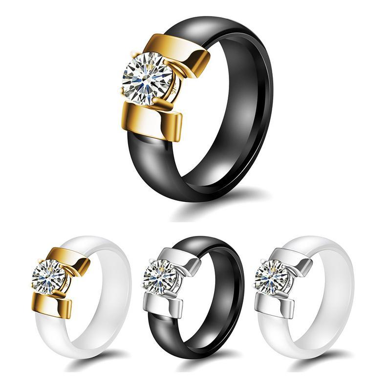 2019 Neue Stil Keramik Schwarz Und Weiß Ring Nicht-empfindliche Titan Stahl Ring
