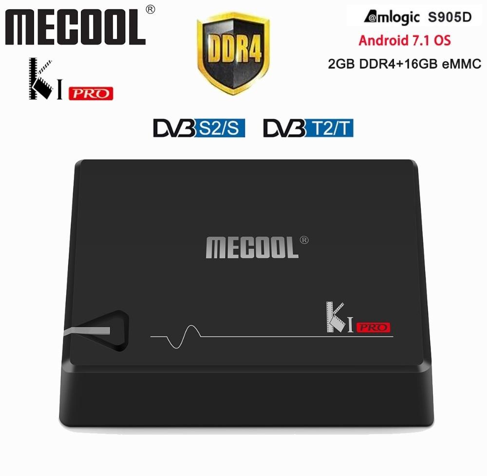 Mecool KI PRO DVB Smart TV Box 2GB/16GB DVB-T2 DVB-S2 Android 7.1 TV Box Amlogic S905D Dual WIFI 2.4G/5G 4K Satellite Receiver android 5 1 dvb t2 dvb s2 satellite tv receiver combo kodi 5g wifi bluetooth 4 0 digital cccam newcam pro uhd 4k h 265 2gb ram