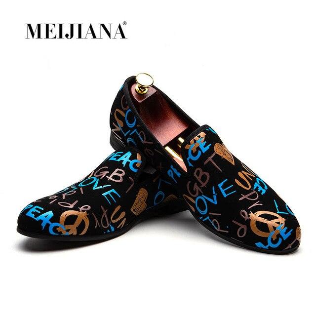 MEIJIANA אופנה נעליים יומיומיות גברים לופרס מותג גברים נעלי 2019 חדש צבעוני גרפיטי נעלי מפלגה