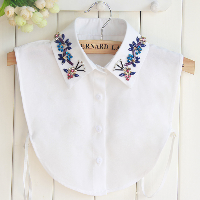 Excellent Quality Chiffon Dickie Shirt Women Korean Colour Crystal Flowers And Plants Sweater Decoration  Fake Collar Wholesale