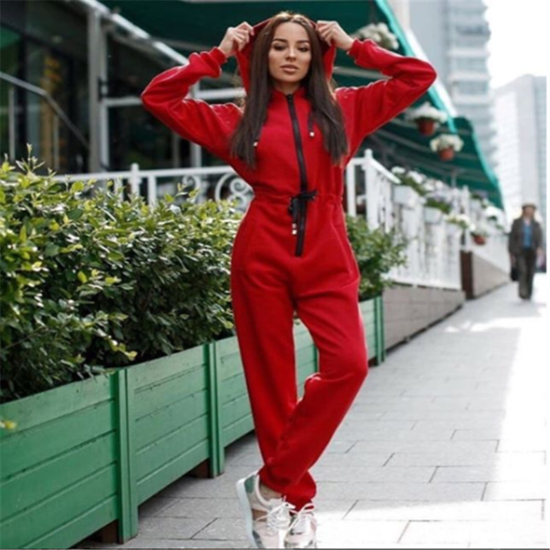 Womens Sports Hooded Zipper Longsleeve Bodycon Jumpsuit Romper  Autumn Winter Fashion New Ladies Long Trousers Jumpsuit