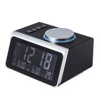 Digital FM Radio Alarm Clock Knob Control Dual Alarm USB Charge Port Temperature Display Snooze Table Clock