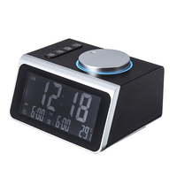 Digital FM Radio Alarm Clock Knob Control Dual Alarm USB Charge Port Temperature Display Snooze Table Clock