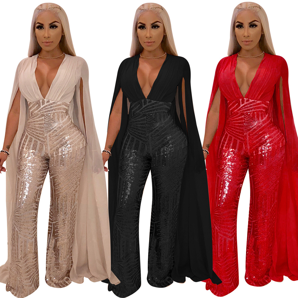 Popular Gold Sequins Jumpsuit Romper Summer Women Glitter Backless Party Jumpsuit Female Overalls Clubwear Jumpsuits For Women