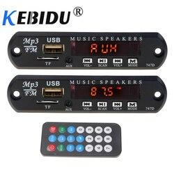 Kebidu módulo decodificador de áudio, para carro, diy, 5v 12v, placa tf, rádio fm, alto falante, entrada auxiliar, 3.5 fonte de alimentação usb + controle remoto, milímetros