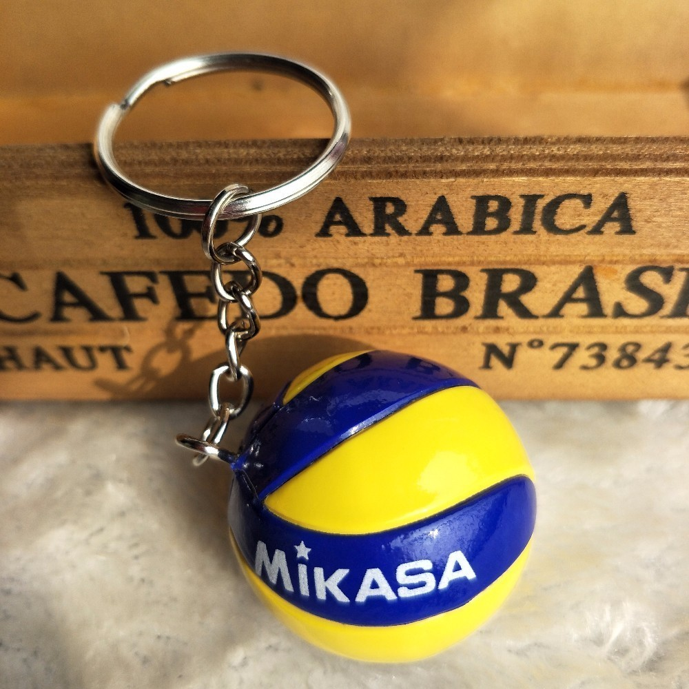 3.8cm Mini PVC Volleyball Keychain Sport Key Chain Car Ball Key Holder Ring Women Keyring Christmas Gift Wholesale