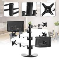 10 27 Inch Rotating 6 Screen LCD TV Mount Flexible Monitor Holder Desktop Clamping Mount Bracket Adjustable Pull Out Arm Bracket