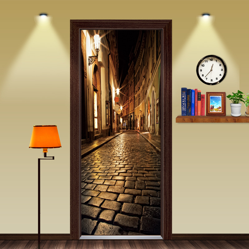 Puertas de madera puertas de renovar la puerta de noche calle Auto adhesivo decorativo de pared impermeable etiqueta Mural papel pintado en la puerta