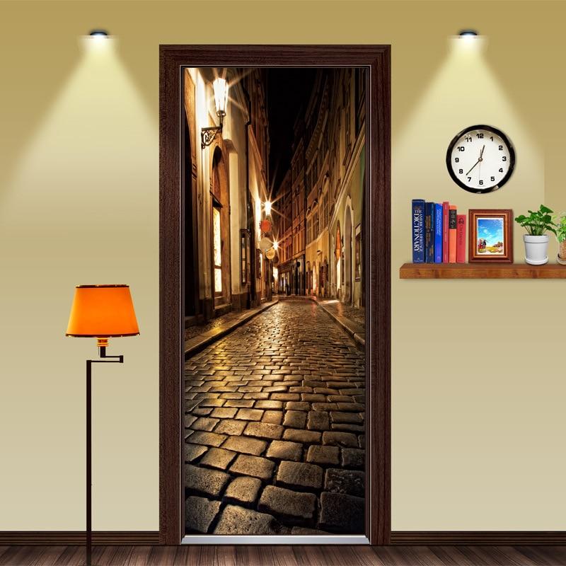 Wooden Doors Refurbish Door Sticker night street Self Adhesive Decorative Waterproof Wall Decal Mural Wallpaper on Door
