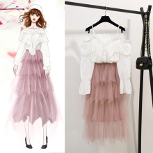 spring sweet girl clothes new super fairy outfit chiffon blouse long pleated skirt two-piece women top vestidos design