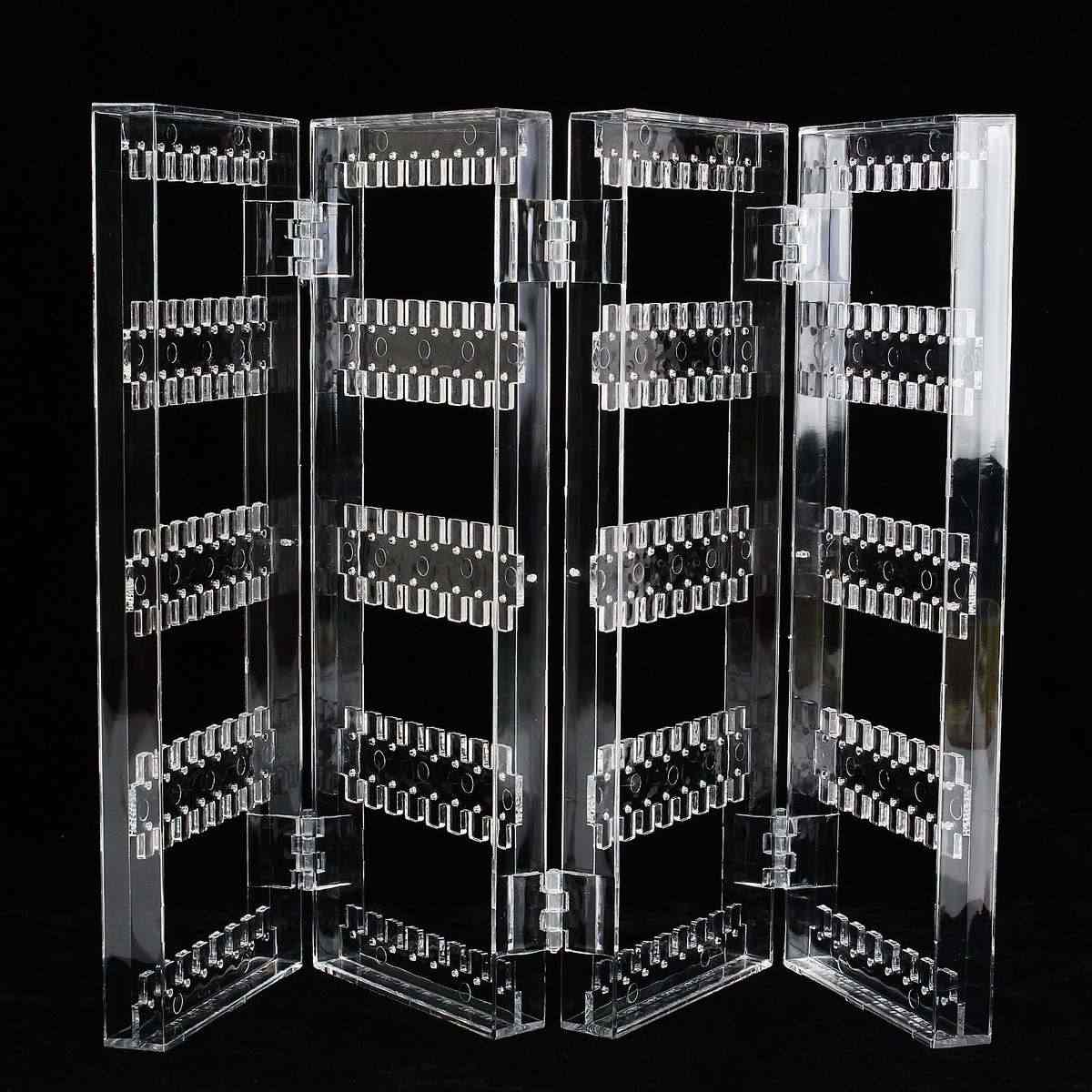 Acrylic Clear Earrings Ear Studs Necklace Display Rack Multifunctional Folding Screen Earring Jewelry Display Stand Holder Case