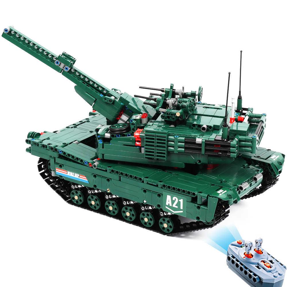 Cada rc اللبنات لعبة على شكل دبابة ww2 التحكم عن بعد M1A2 دبابة مع جهاز للتحكم عن بُعد الحروب العسكرية سلاح نموذج الطوب الاطفال لعب للأطفال الأولاد
