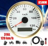 3 colors 85mm GPS Speedometer Gauge Car Boat Motorcycle Auto Waterproof Universal Truck machine Speedometer Gauges 120km/h 316L
