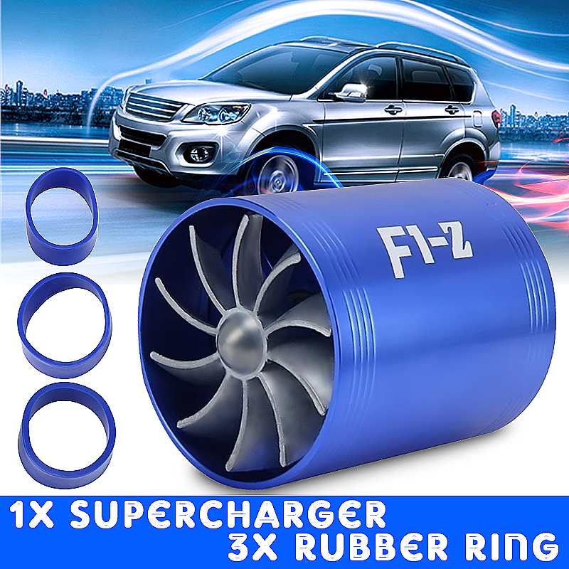 75mmX64mm Universal Car Air Filter Intake Fan Double Propellers Fuel Gas Saver Supercharger For Turbine Turbo Charger