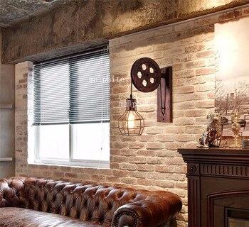 Loft żelaza Lampa ścienna Led Deco Vintage Oświetlenie Wewnętrzne ściany światła Do Domu Amerykański Oświetlenie Przemysłowe Podnoszenia Koło Pasowe