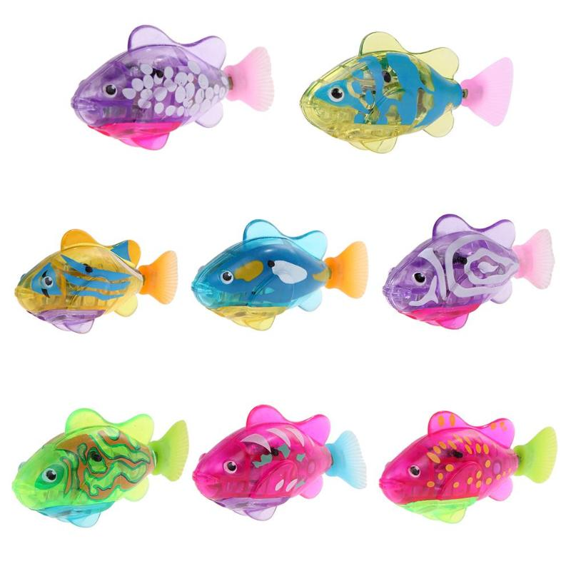 1PC Robot Sensor Diving Fish Luminous Electric Swimming Fish Toy Baby Bathing Toy Fantastic Baby Palymate Soomthing Bath Toy