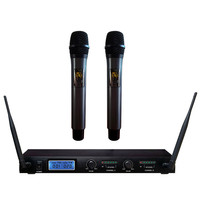 Professional Multi functional 2 Channel Dual Mic Cordless Wireless LCD Display Studio Microphone Wireless Microphone