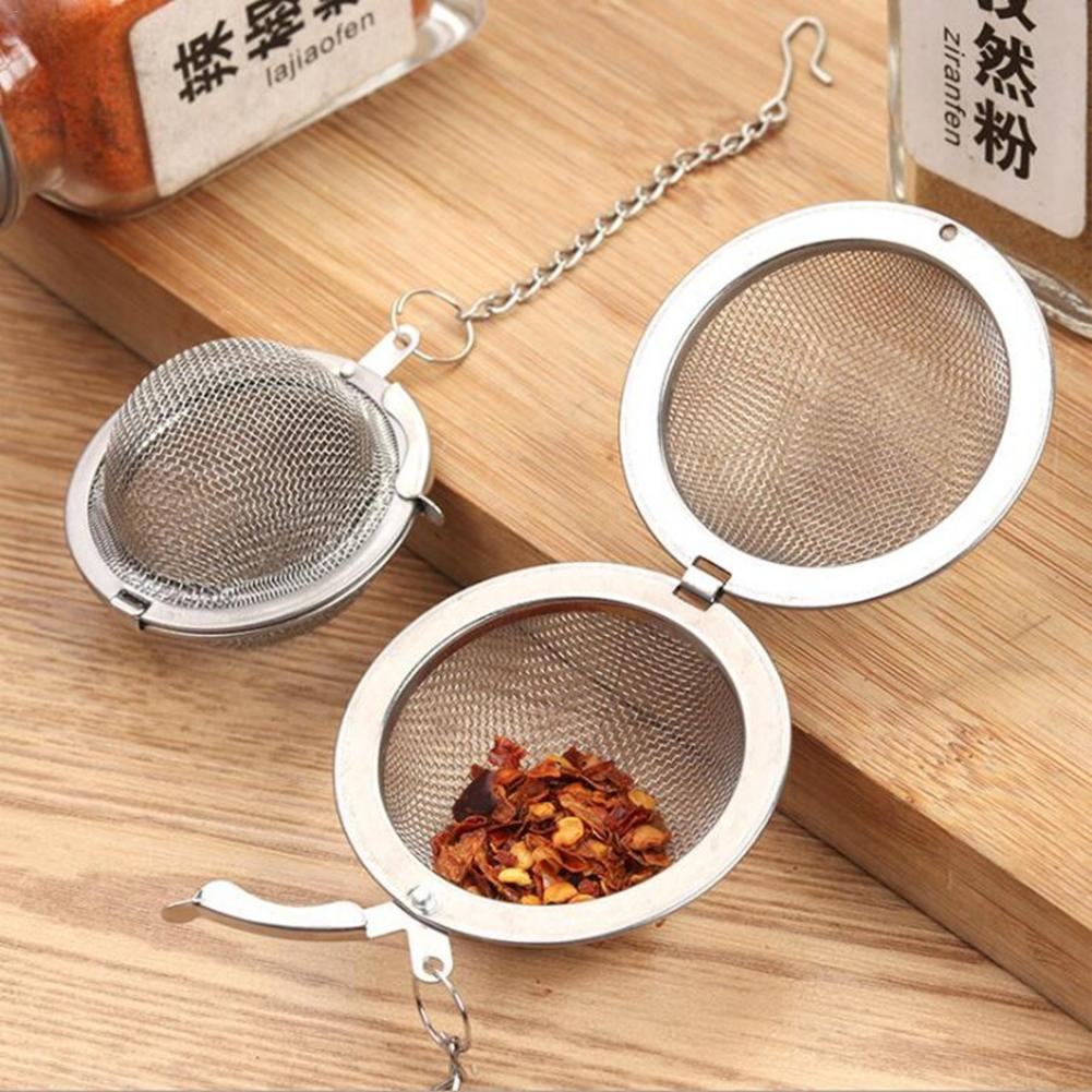 Stainless Steel Seasoning BallsTea Filter Tea Tools Locking Spice Egg Shape Ball Mesh Infuser Tea Strainer Home Accessories